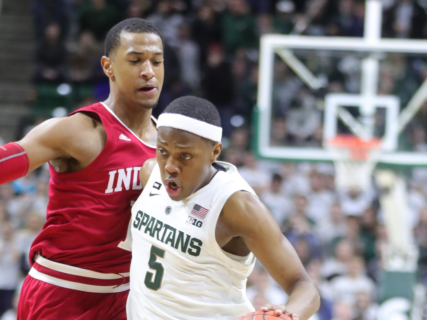 Michigan State's Cassius Winston drives against Indiana's Devonte Green during overtime of the 79-75 loss to Indiana on Feb. 2, 2019, in East Lansing.