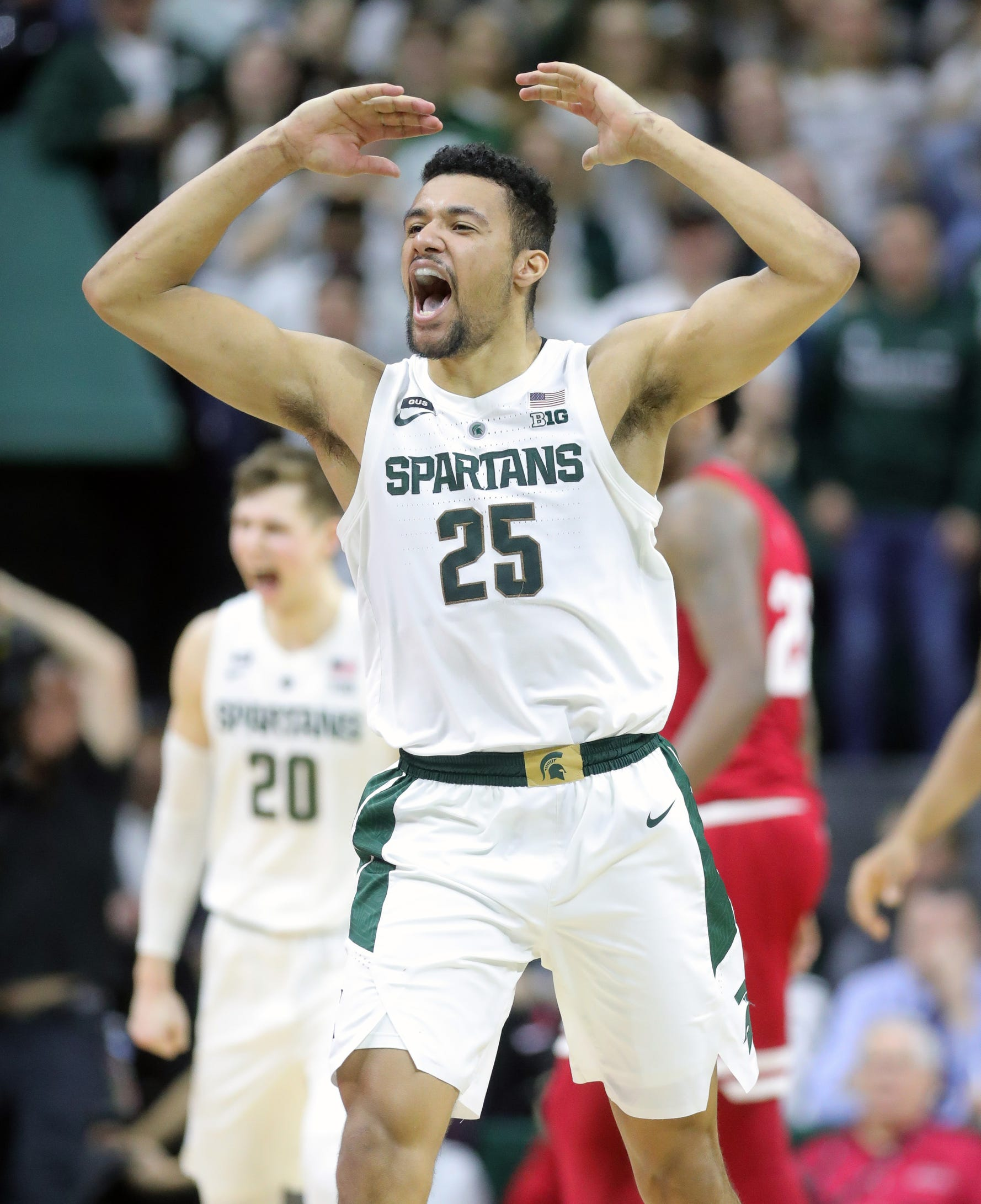 Michigan State forward Kenny Goins reacts after scoring against Indiana during the second half of the 79-75 overtime loss to Indiana on Saturday, Feb. 2, 2019, in East Lansing.