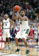 Nick Ward shoots a free throw during the Spartans' overtime loss to Indiana on Saturday. MSU made 8 of 25 free throws in the game.