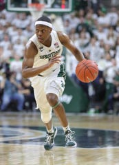 Michigan State guard Cassius Winston drives against Indiana during first half action Saturday, February 2, 2019 at the Breslin Center in East Lansing, Mich.