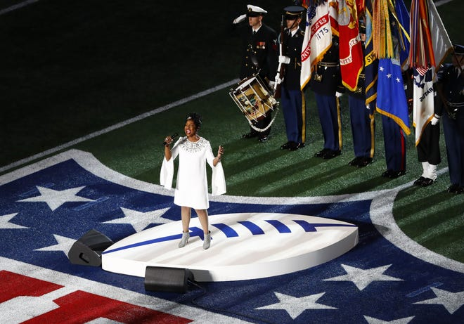 US singer Gladys Knight sings the national anthem before the start of Super Bowl LIII between the New England Patriots and the Los Angeles Rams at Mercedes-Benz Stadium in Atlanta, Georgia, USA, 03 February 2019.