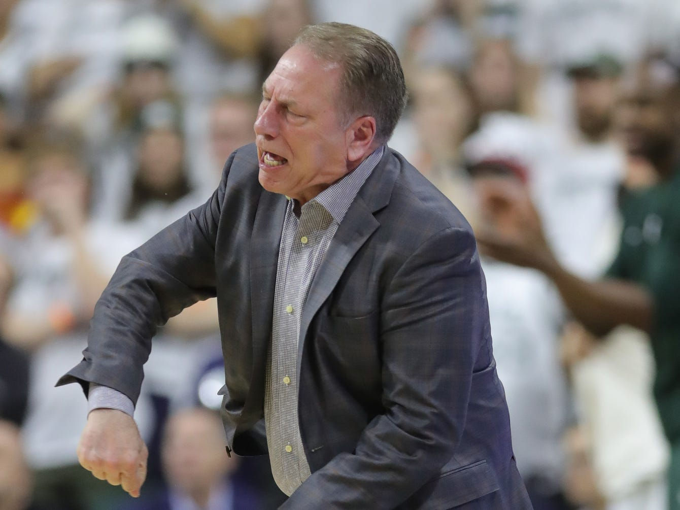Michigan State coach Tom Izzo reacts after a call during the first half of the 79-75 overtime loss to Indiana on Saturday, Feb. 2, 2019, in East Lansing.