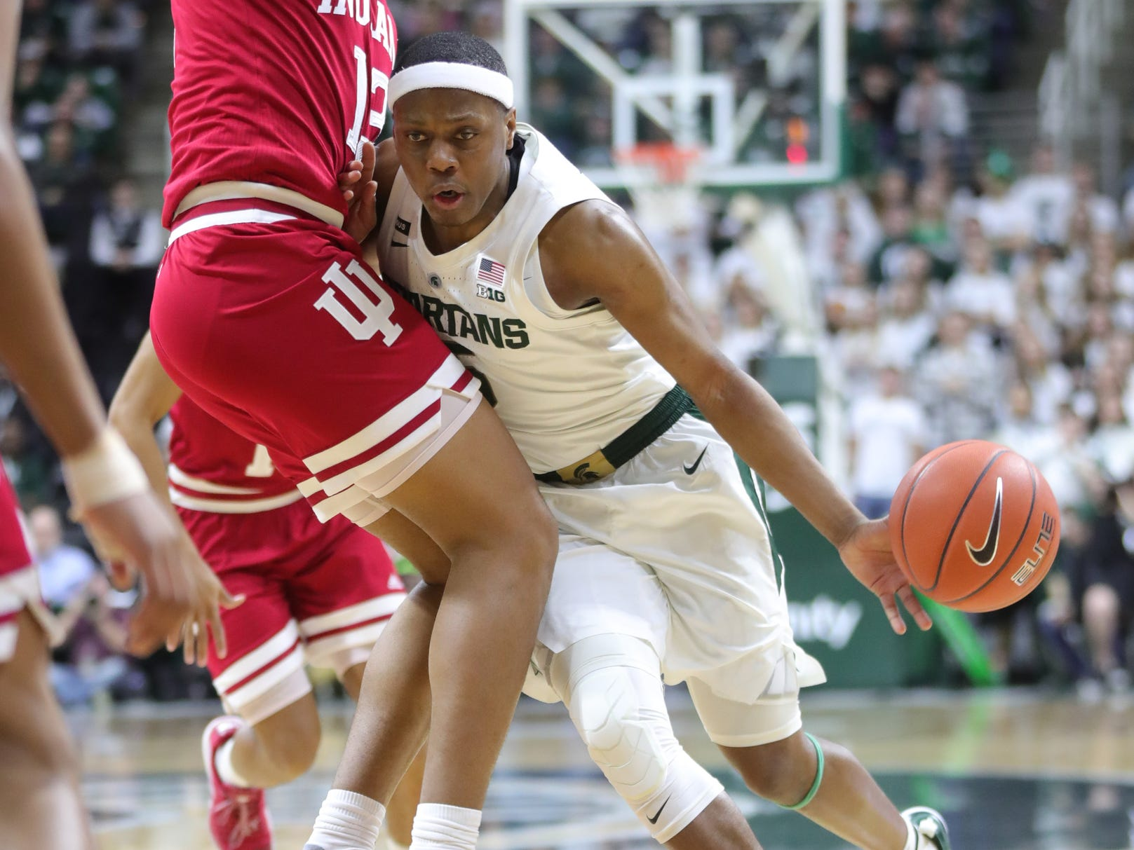Michigan State guard Cassius Winston drives against Indiana forward Juwan Morgan during the first half of the 79-75 overtime loss to Indiana on Saturday, Feb. 2, 2019, in East Lansing.