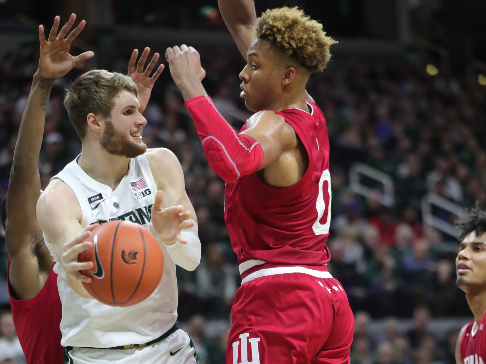 Michigan State against Indiana during first action Saturday, Feb. 2, 2019 at the Breslin Center in East Lansing, Mich.