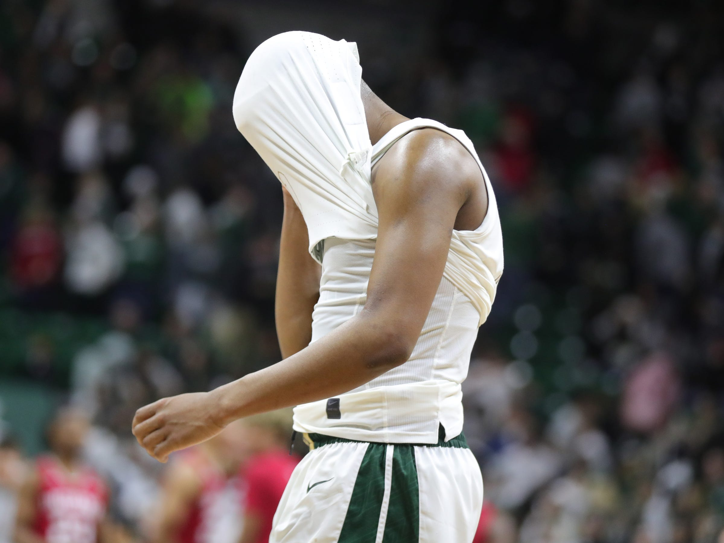 Michigan State guard Cassius Winston reacts after the 79-75 overtime loss to Indiana on Saturday, Feb. 2, 2019, in East Lansing.