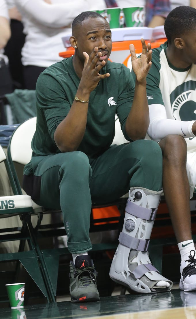 Michigan State guard Joshua Langford sits on the bench during the second half of the 79-75 overtime loss to Indiana on Saturday, Feb. 2, 2019, in East Lansing.