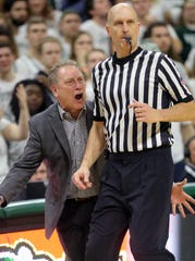 Michigan State head coach Tom Izzo disputes a call with referee D.J. Carstensen during the second half of the 79-75 overtime loss to Indiana on Saturday, Feb. 2, 2019, in East Lansing.