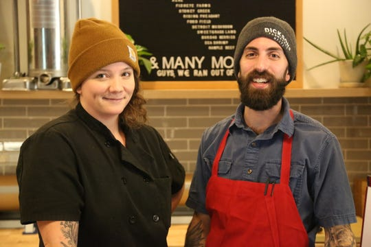 Executive chef Sarah Welch and head butcher Nicholas Ponte of Marrow, a restaurant-butcher shop hybrid in Detroit's West Village neighborhood.