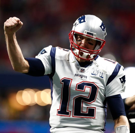 New England Patriots quarterback Tom Brady prior to the start of Super Bowl LIII vs. the Los Angeles Rams at Mercedes-Benz Stadium in Atlanta, Feb. 2, 2019.
