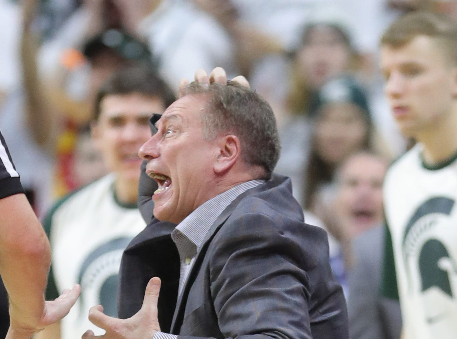 Michigan State head coach Tom Izzo reacts to a call during first half action against Indiana Saturday, Feb. 2, 2019 at the Breslin Center in East Lansing, Mich.