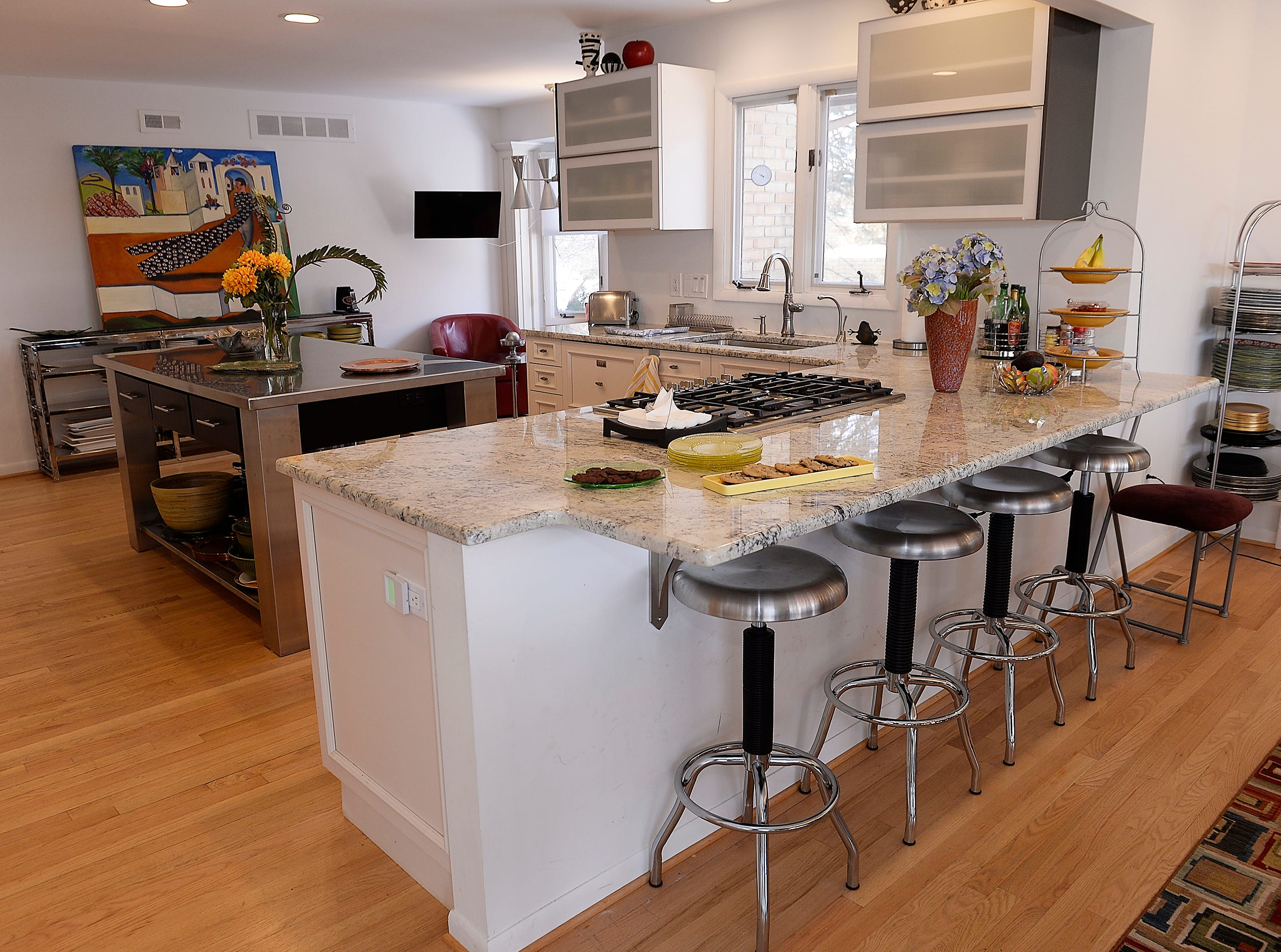 A new counter top bar sits inside the kitchen.