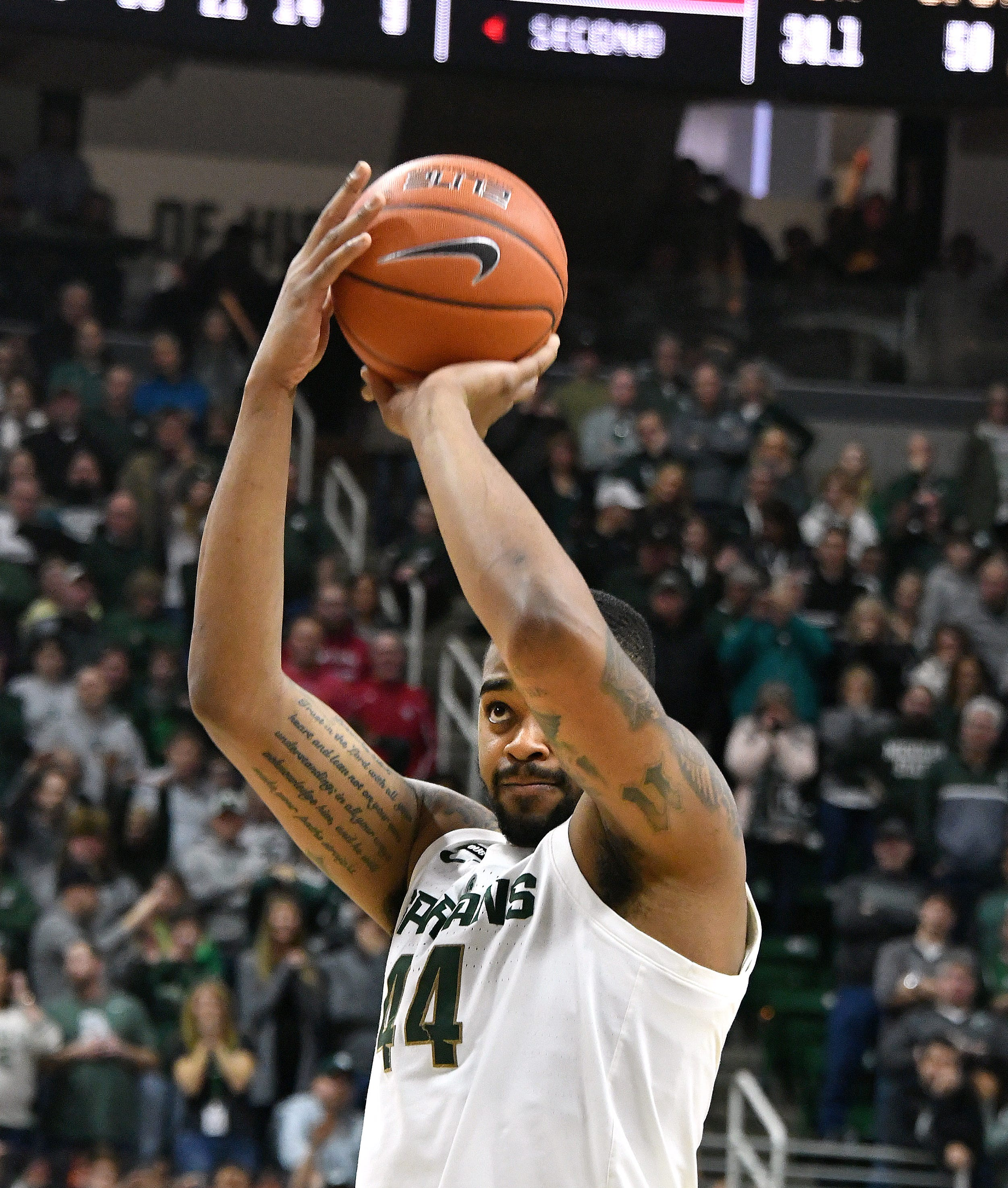 Michigan State's Nick Ward went 1-of-9 from the free-throw line in Saturday's 79-75 overtime loss to Indiana.