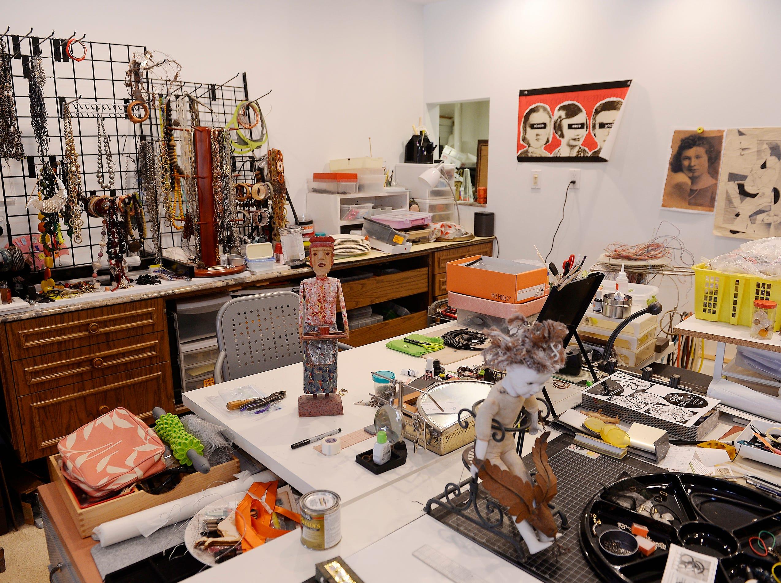 Linda's studio in the basement of her home.