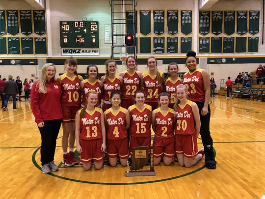 Mater Dei defeated Tell City 52-40 to win the Class 2A sectional championship. The Wildcats were the defending champions.