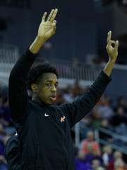 University of Evansville's Deandre Williams watches his team take on the Valparaiso Crusaders at Ford Center in Evansville, Ind., Saturday, Feb. 2, 2019. The Purple Aces defeated the Crusaders, 64-53.