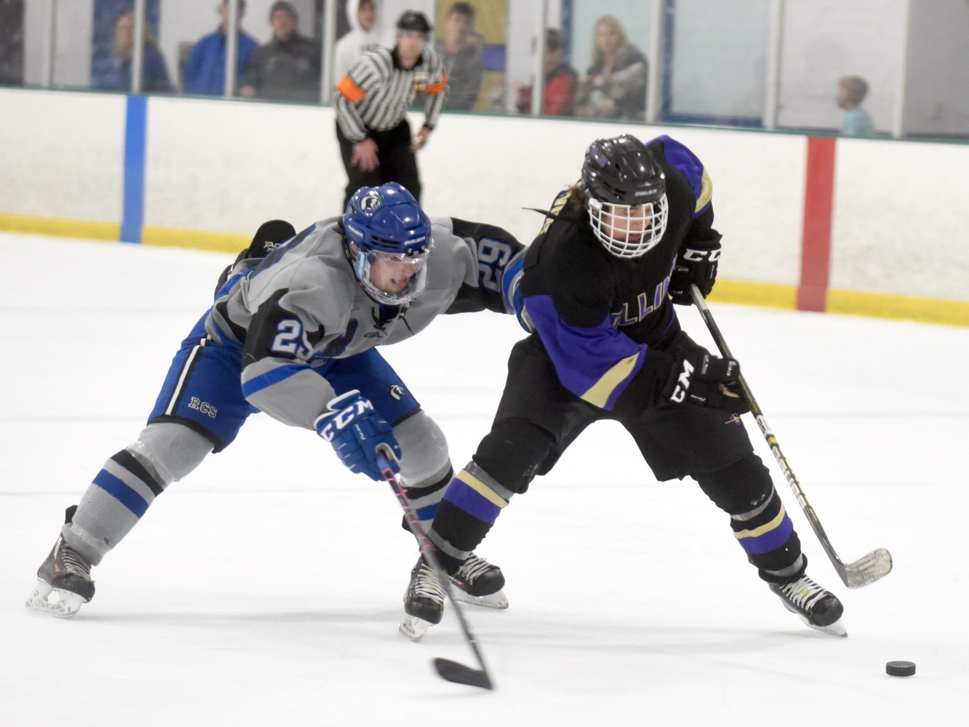 Resurrection Christian's Michael Lewis tries to catch up to Fort Collins' Nolan Devine during the game on Saturday at, Feb 2, at NoCo Ice Center, 7900 N Fairgrounds Ave, in Fort Collins.