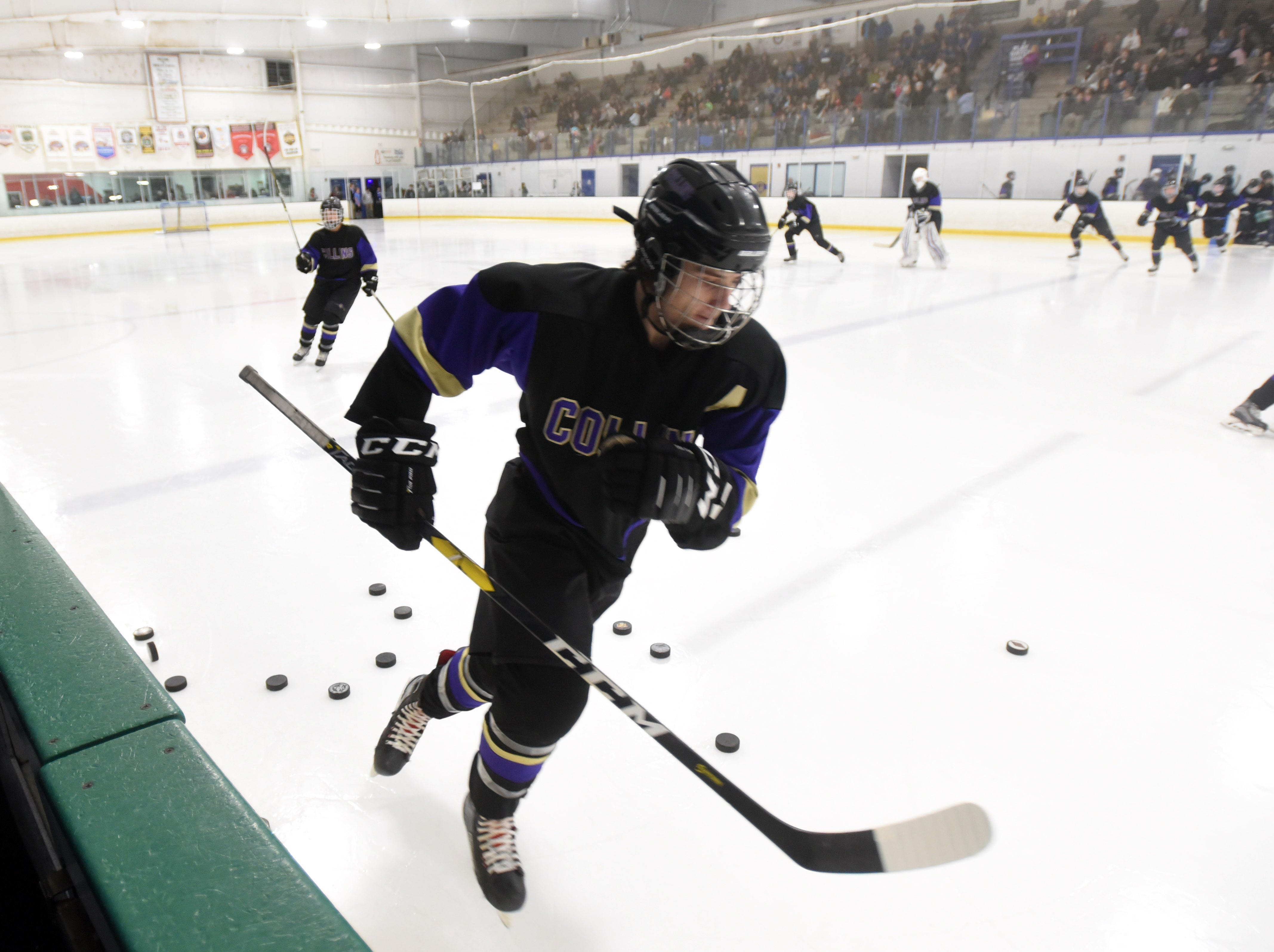 Fort Collins' Ethan Nelson skates onto the ice during warmups before the game against Resurrection Christian on Saturday at, Feb 2, at NoCo Ice Center, 7900 N Fairgrounds Ave, in Fort Collins.
