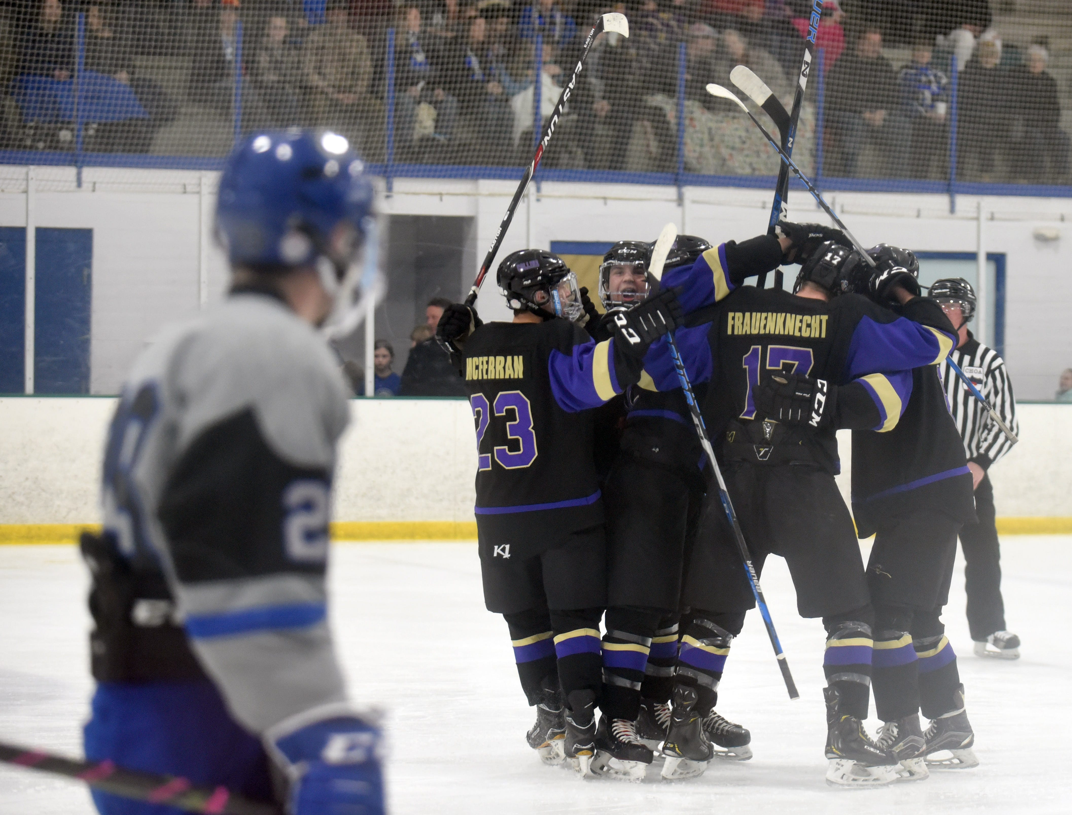 Fort Collins celebrates after their first goal of the game on Saturday, Feb 2, at NoCo Ice Center, 7900 N Fairgrounds Ave, in Fort Collins.