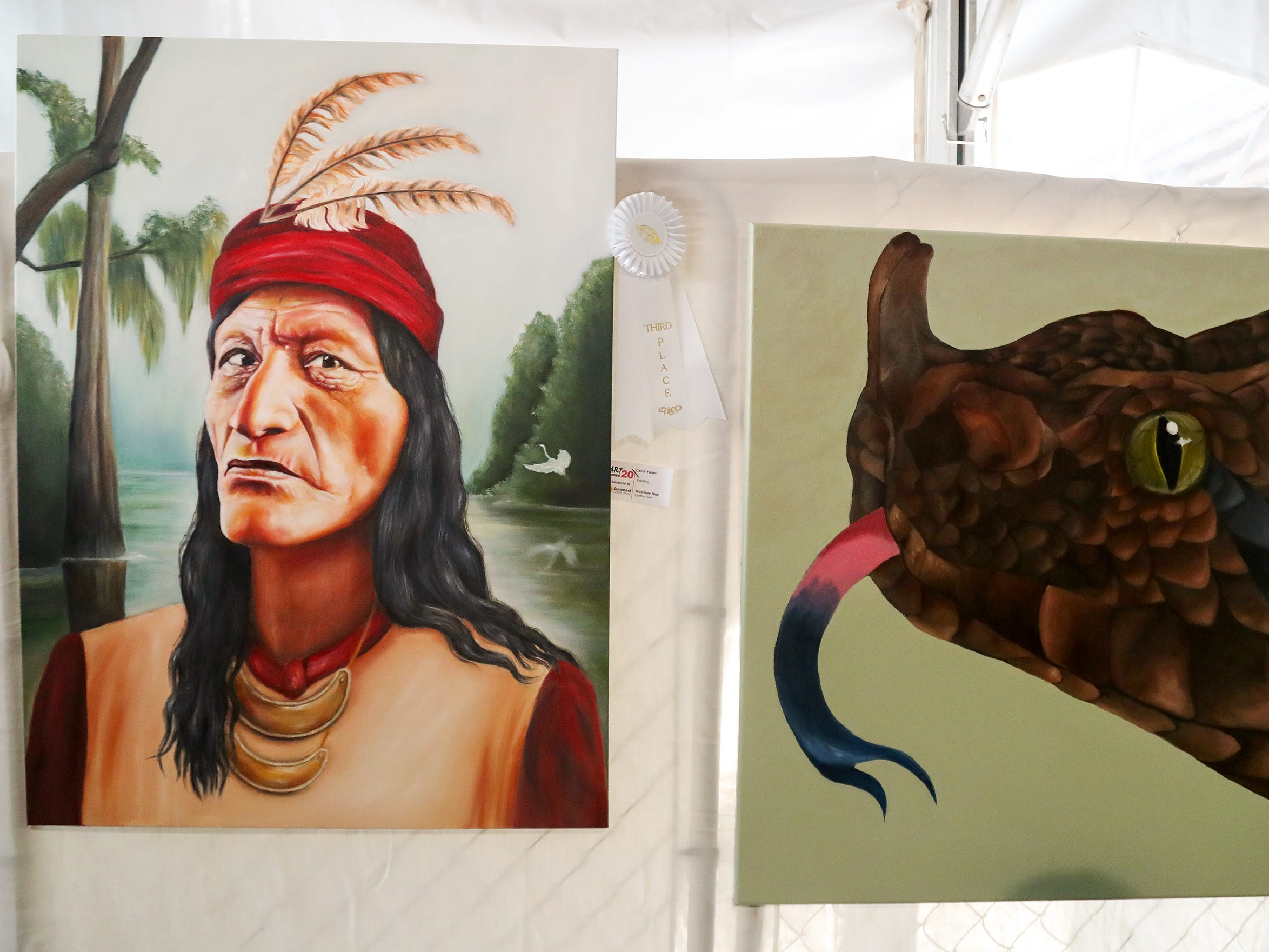 Paintings by Lee County school students were featured at ArtFest Fort Myers on Sunday in downtown Fort Myers. The annual event featured works by local and national artists.
