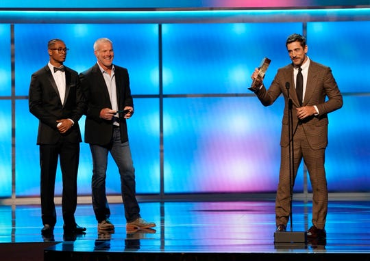 Aaron Rodgers of the Green Bay Packers accepts the award for the Moment of the Yar at the 8th Annual NFL Honors at The Fox Theatre on Saturday, Feb. 2, 2019, in Atlanta.