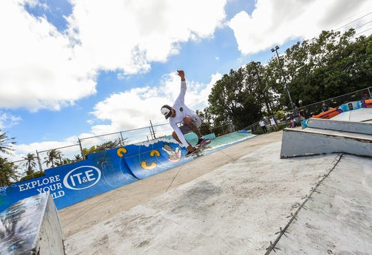 Vinnie Rodrigues skates at the Dededo Skatepark on Feb. 3, 2019.