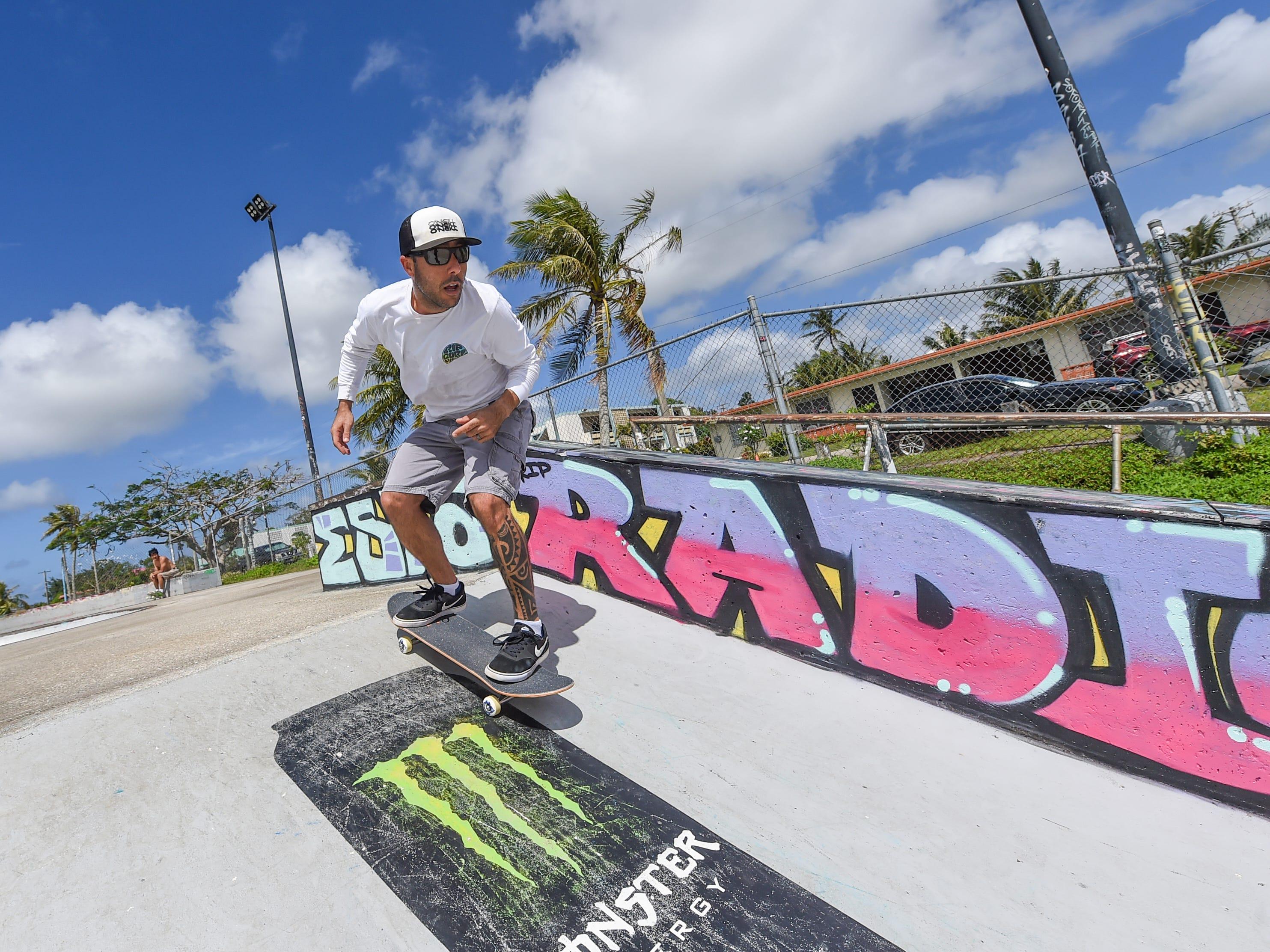 Vinnie Rodrigues skates at the Dededo Skatepark on Feb. 3, 2019.