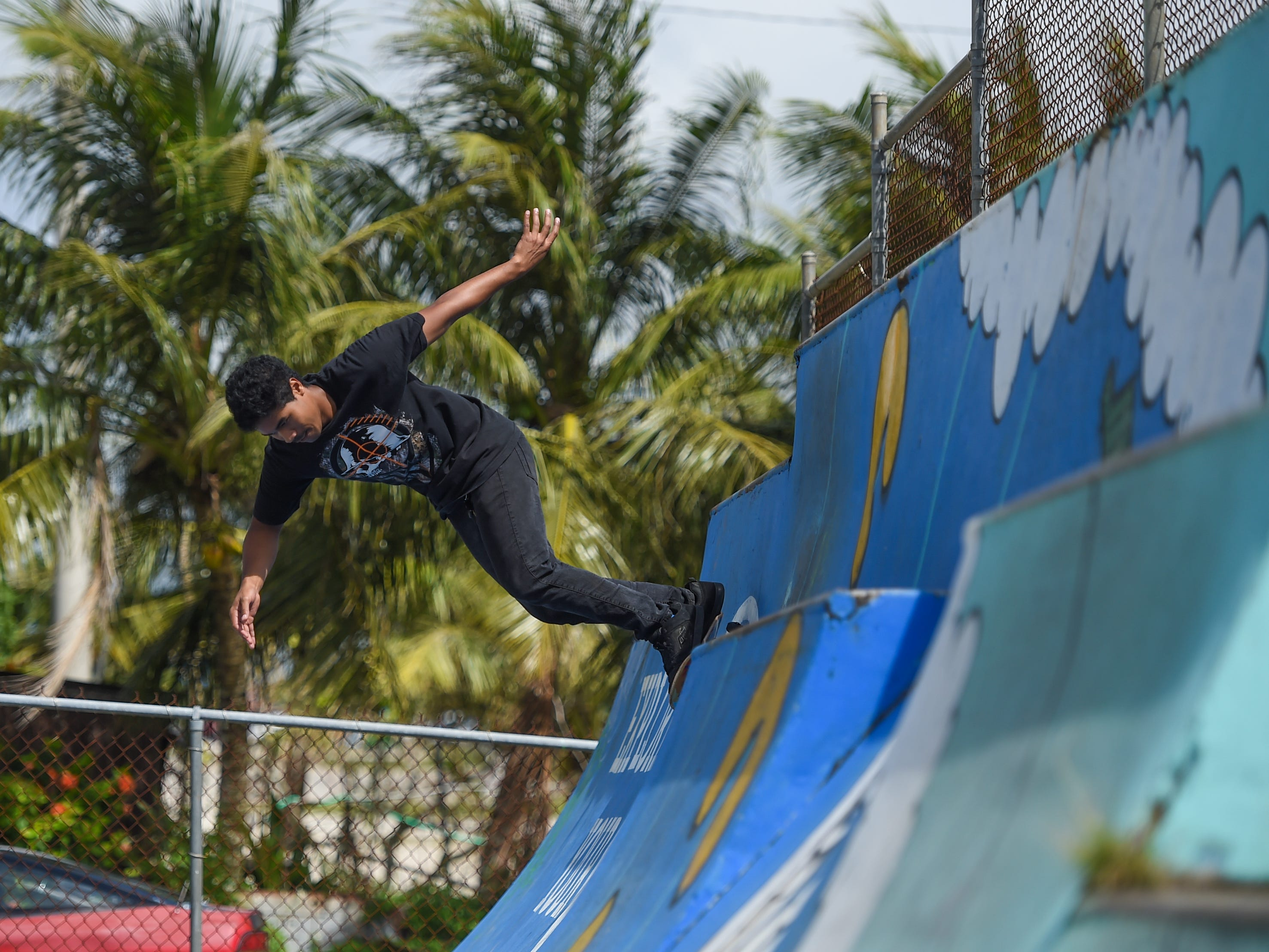 Local skaters get a Sunday skate session in at the Dededo Skatepark on Feb. 3, 2019.