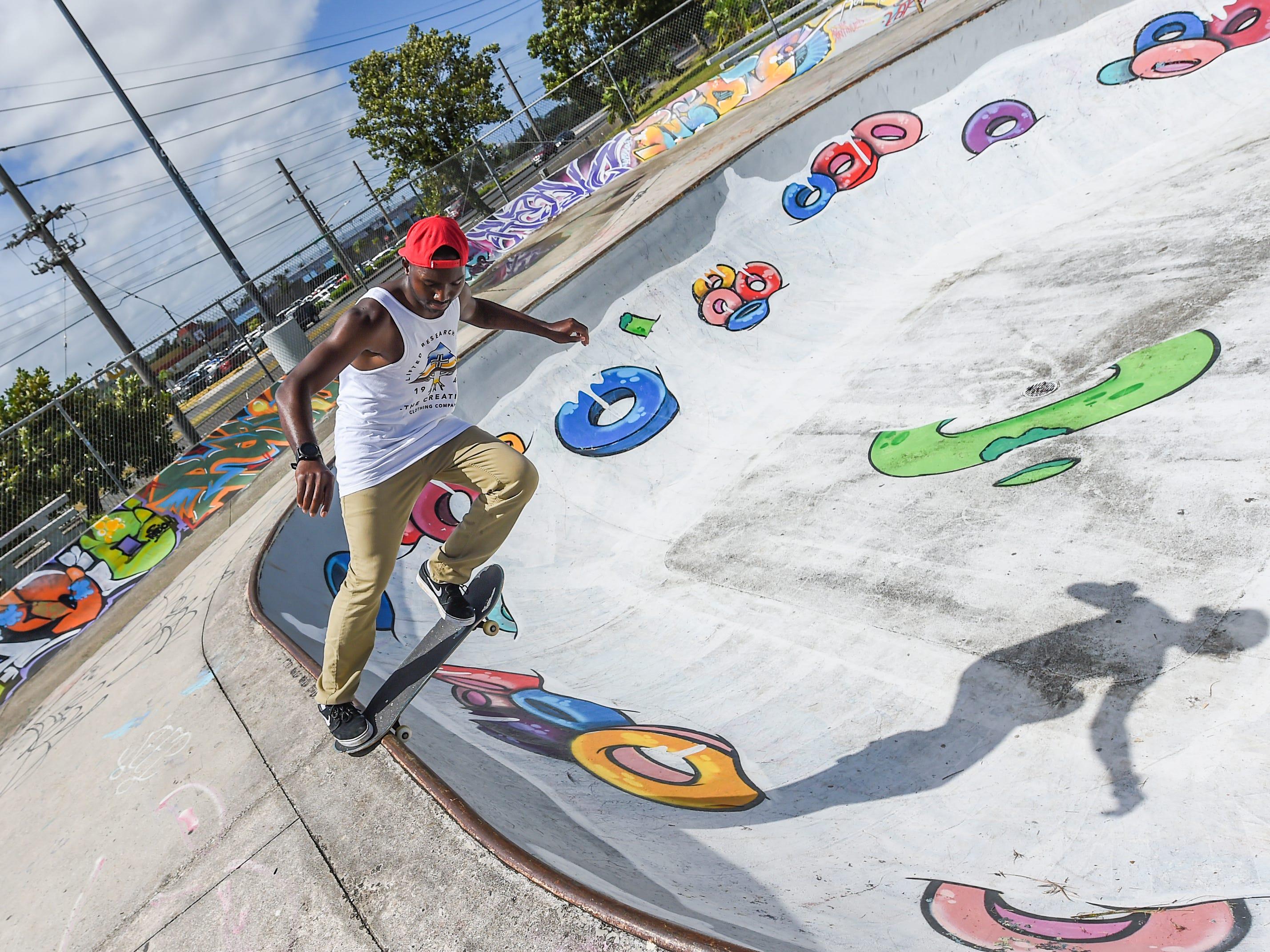 Marquis Nelson at the Dededo Skatepark on Feb. 3, 2019.