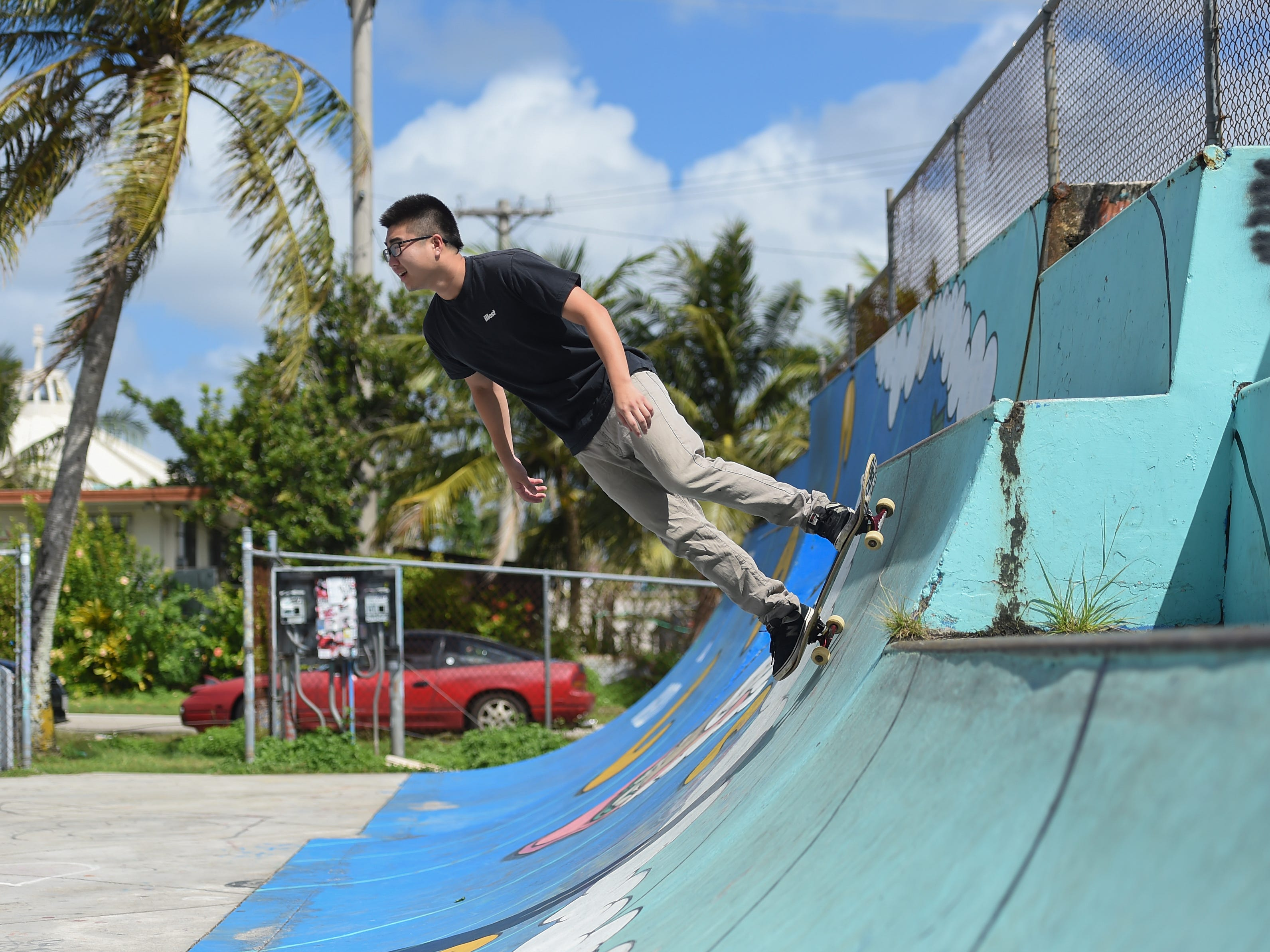 Dededo resident Andy Pass rides at the Dededo Skatepark on Feb. 3, 2019.