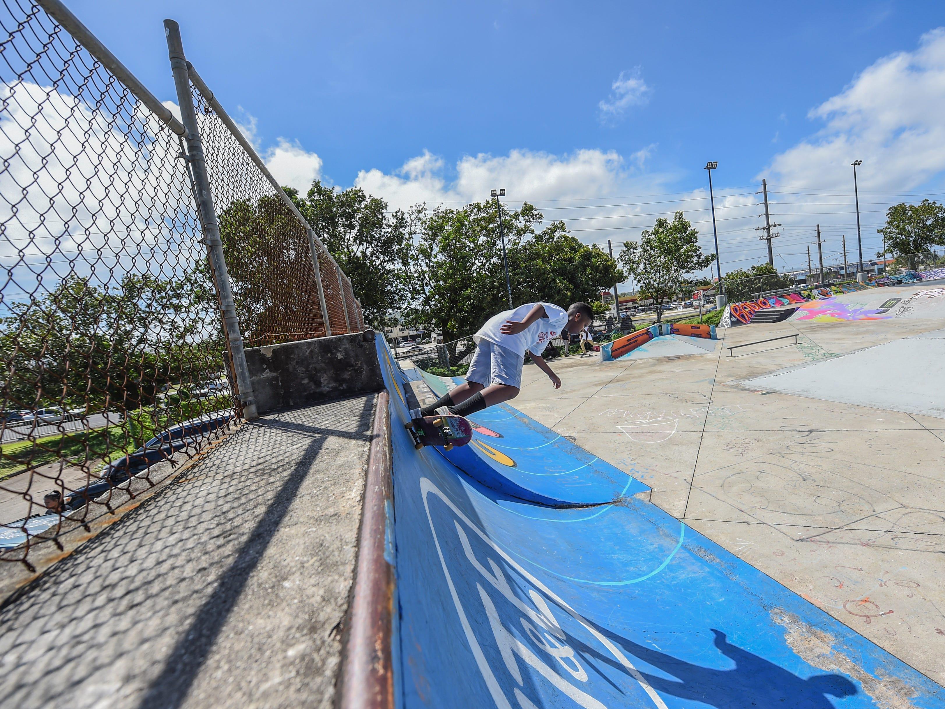 Dakarai Nelson shows off some tricks at the Dededo Skatepark on Feb. 3, 2019.
