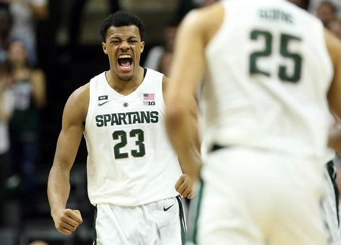 Michigan State Spartans forward Xavier Tillman (23) reacts during the first half against the Indiana Hoosiers at the Breslin Center.