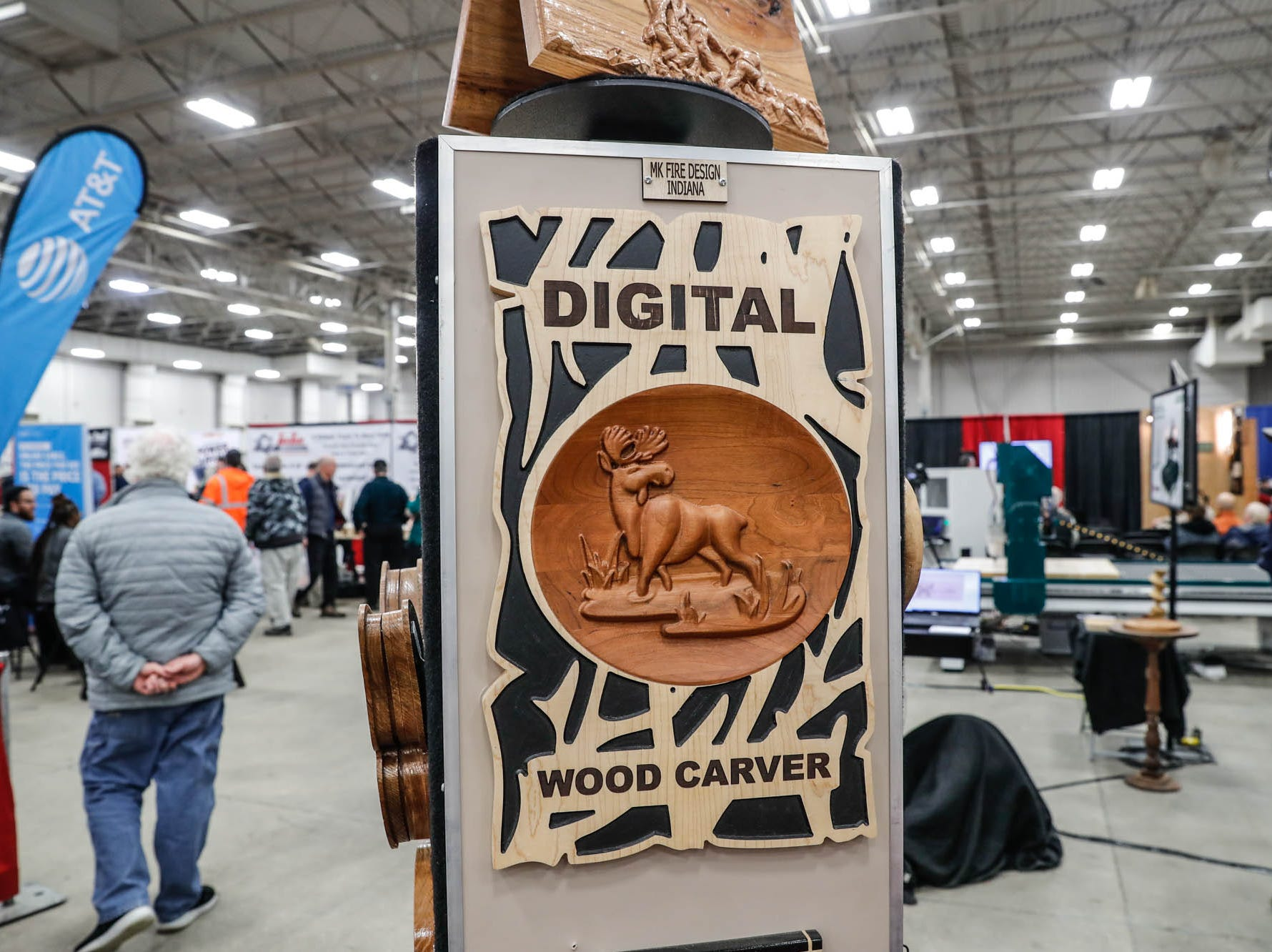 Digital wood carvings hand on display at the Digital Wood Carving booth during a Wood Working Show at the Indiana State Fairgrounds in Indianapolis on Sunday, Feb. 3, 2019.