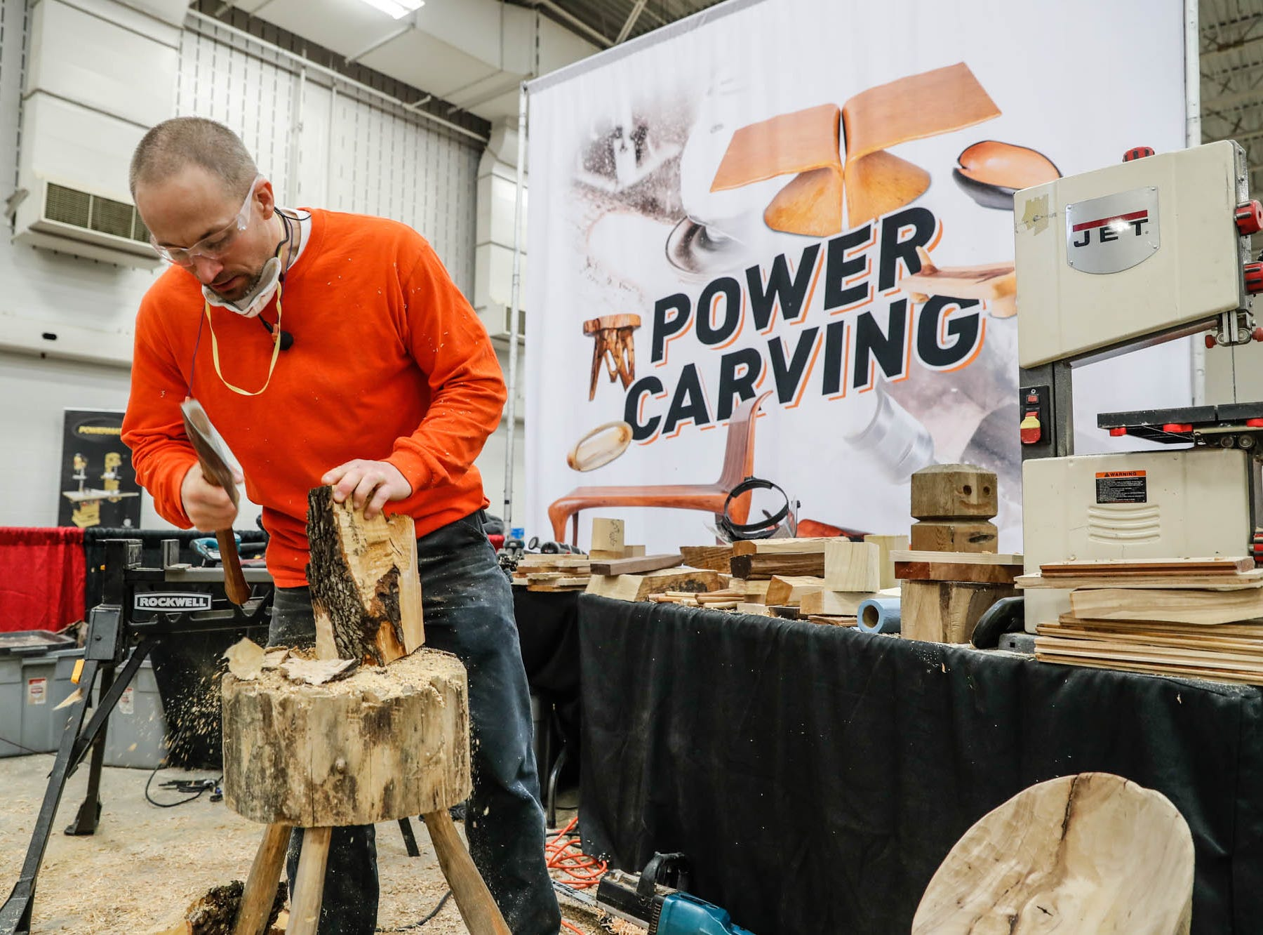 Tracey Cheuvrons works on creating a kitchen utensil from a piece of wood during a Wood Working Show at the Indiana State Fairgrounds in Indianapolis on Sunday, Feb. 3, 2019.