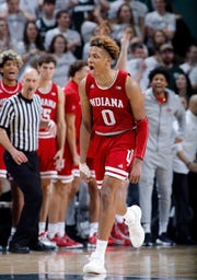 Indiana's Romeo Langford celebrates after hitting a 3-pointer against Michigan State.