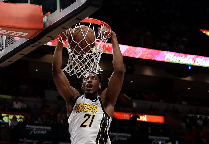 Indiana Pacers forward Thaddeus Young dunks against the Miami Heat in the  first half of an 1b7a854e4