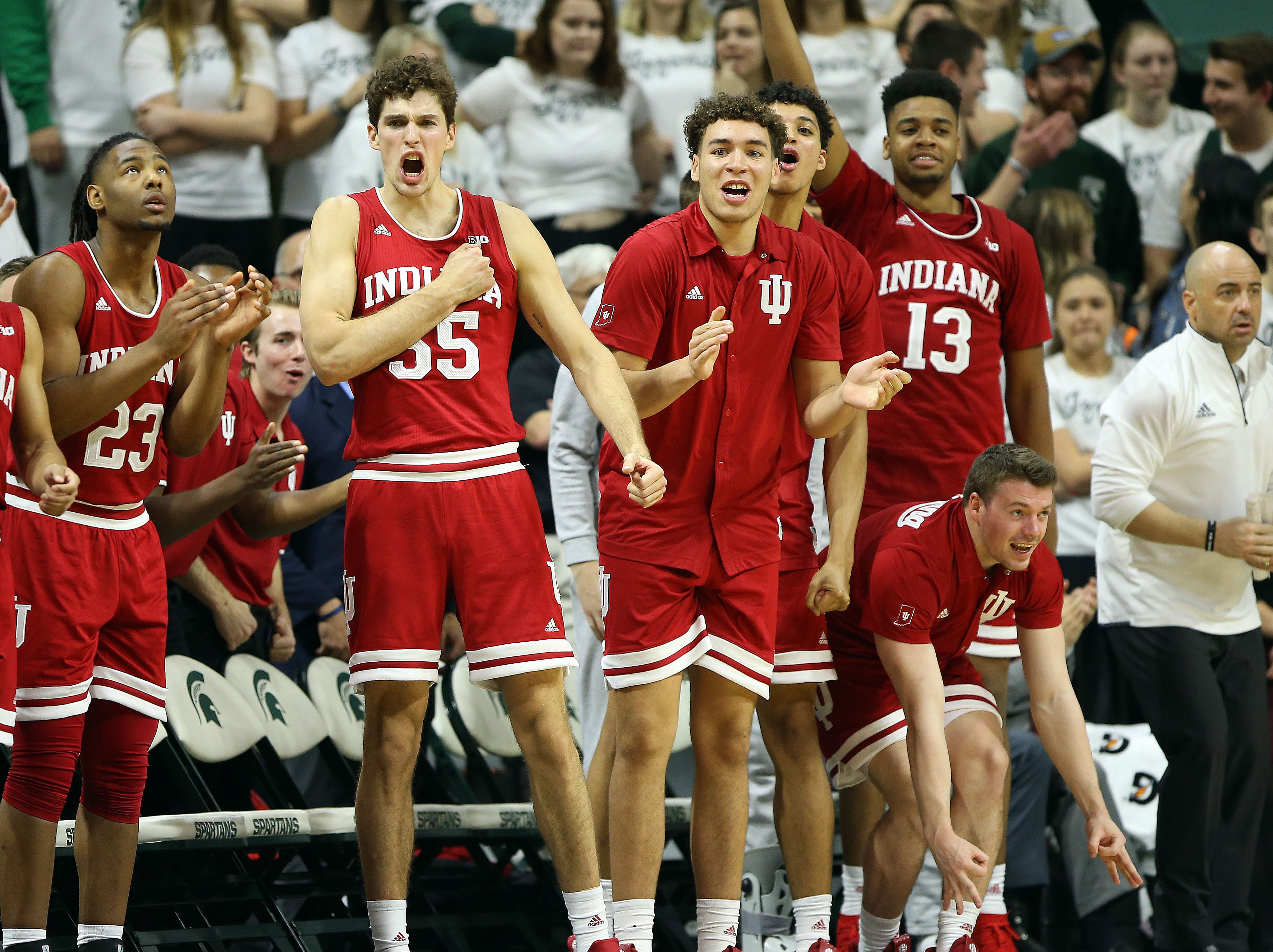 Indiana Hoosiers bench celebrate the game victory over Michigan State Spartans at the Breslin Center.