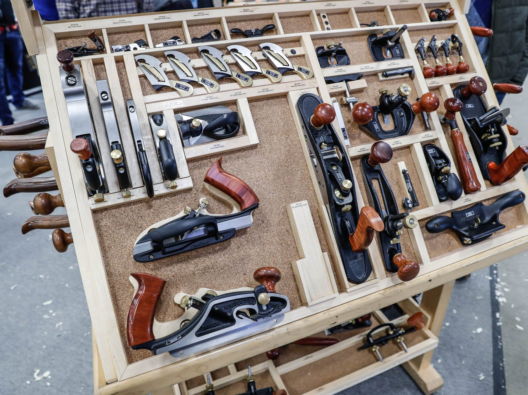 Hand tools are on display in the Veritas booth during a Wood Working Show at the Indiana State Fairgrounds in Indianapolis on Sunday, Feb. 3, 2019.