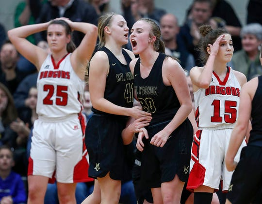 Mt. Vernon Marauders Olivia Yeley (20) celebrates getting fouled and making the basket in the second half of their IHSAA girls basketball sectional tournament championship game at Mt Vernon High School in Fortville on Saturday, Feb. 2, 2019. Mt. Vernon defeated New Palestine 35-29.