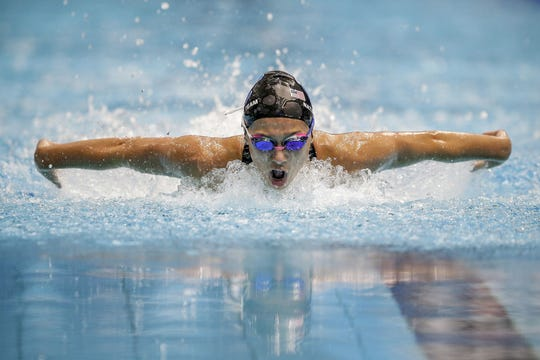 FILE – Carmel's Kelly Pash won the 200-yard individual medley and 100 butterfly at Saturday's sectional.