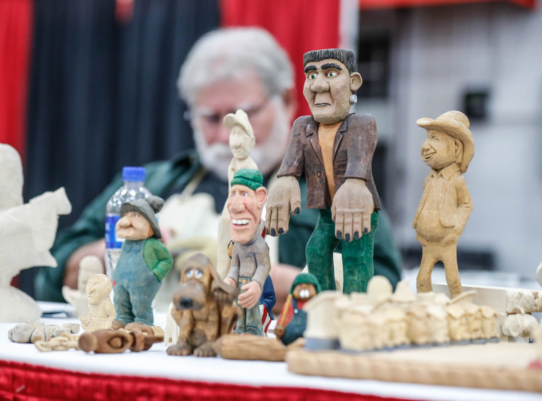 Work by wood worker Greg May, of the Circle City Carvers, is on display during a Wood Working Show at the Indiana State Fairgrounds in Indianapolis on Sunday, Feb. 3, 2019.