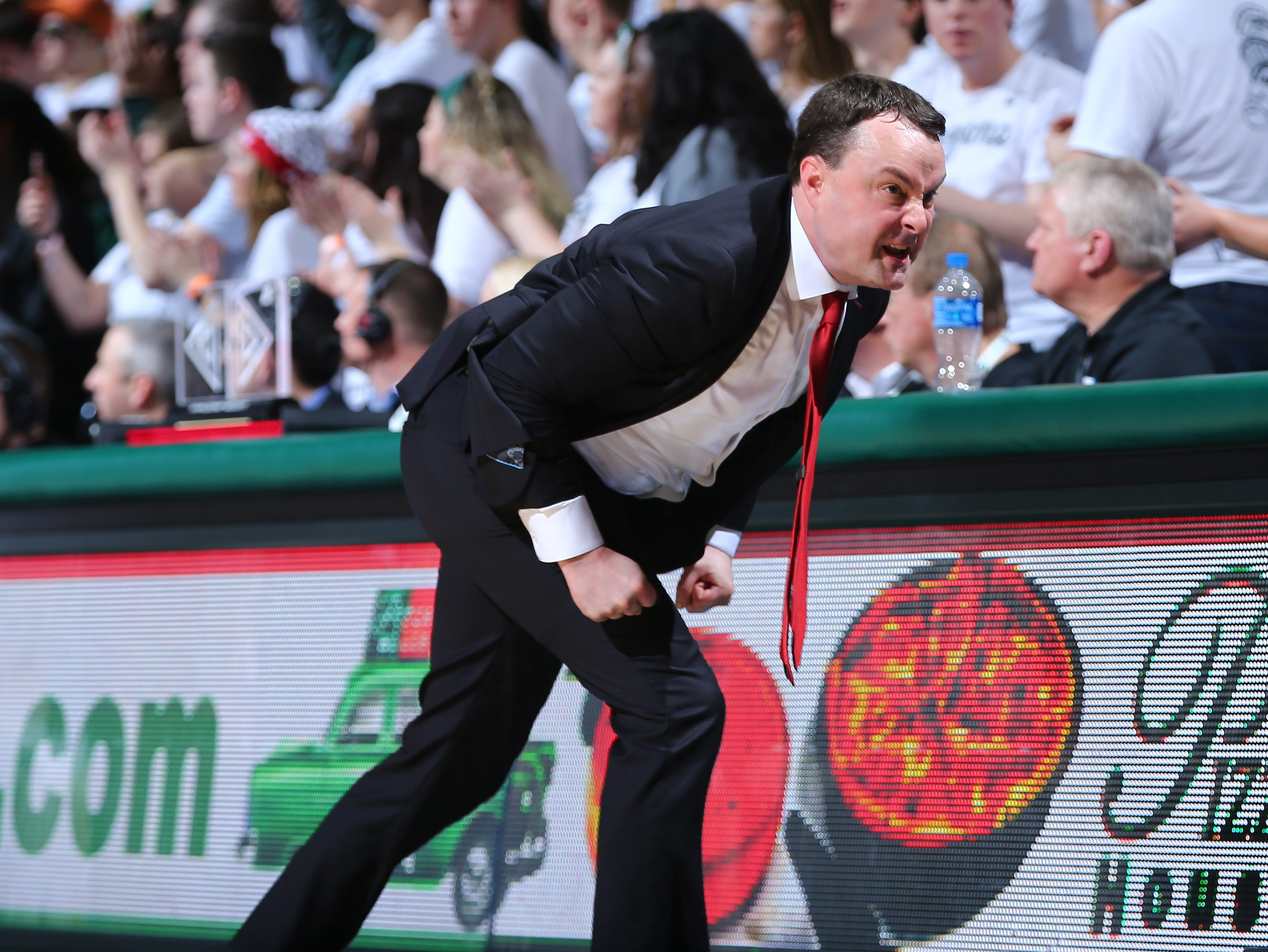 EAST LANSING, MI - FEBRUARY 02: Head coach Mark Archie Miller of the Indiana Hoosiers reacts during a game against the Michigan State Spartans in overtime at Breslin Center on February 2, 2019 in East Lansing, Michigan. (Photo by Rey Del Rio/Getty Images)