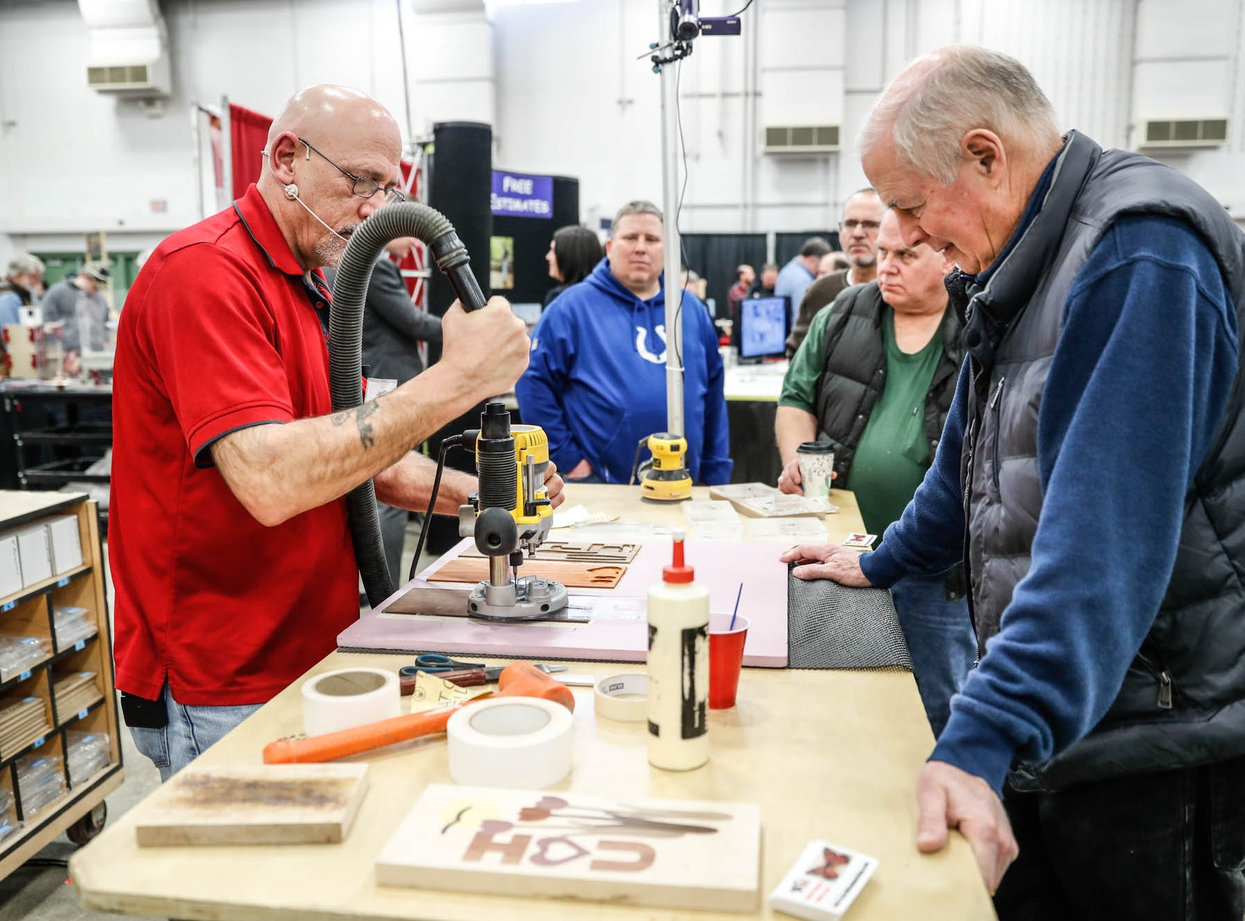 Wood worker, Larry Tarter does a router demo during a Wood Working Show at the Indiana State Fairgrounds in Indianapolis on Sunday, Feb. 3, 2019.