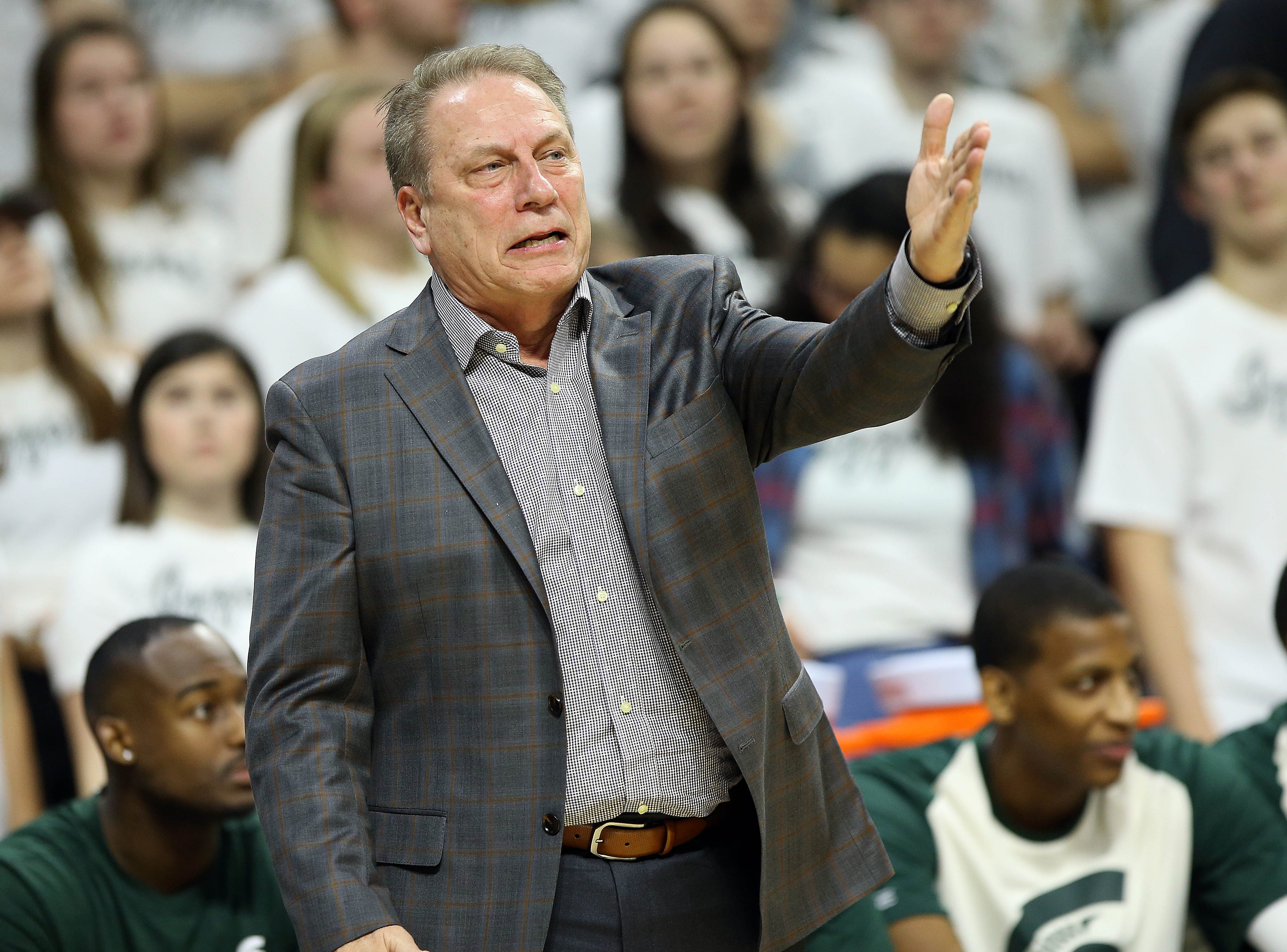 Michigan State Spartans head coach Tom Izzo gestures during the first half  against the Indiana Hoosiers at the Breslin Center.