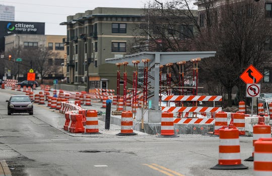 An IndyGo Red Line shelter is seen mid-construction in the middle of Meridian Street near the intersection with 22nd Street in Indianapolis, Thursday, Jan. 24, 2019.