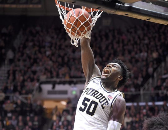 Feb 3, 2019; West Lafayette, IN, USA; Purdue Boilermakers forward Trevion Williams (50) dunks the ball against the Minnesota Golden Gophers in the first half at Mackey Arena.