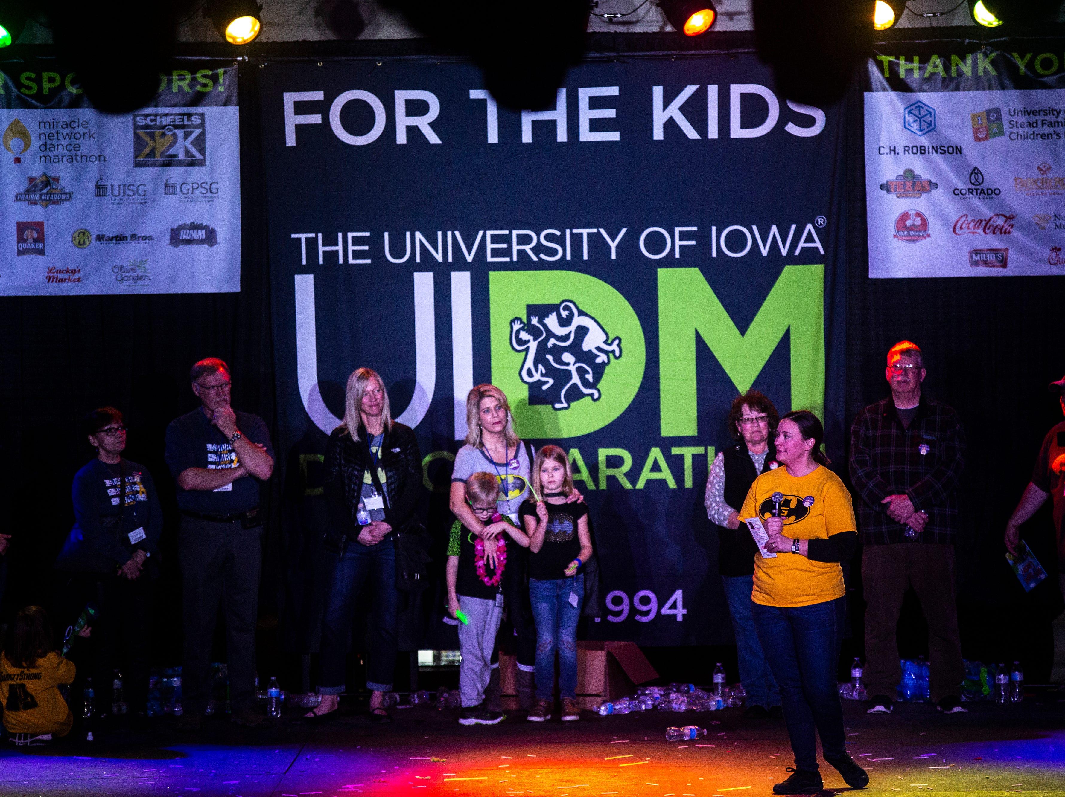 Emilie Matthias speaks during the University of Iowa Dance Marathon 25 on Saturday, Feb. 2, 2019, at the Iowa Memorial Union in Iowa City, Iowa. Her five-year-old Garrett died on July 6, 2018.