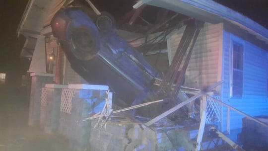 A car crashed into a residence at the corner of Ellen Street and Avenue A in South Knoxville at around 2:45 a.m. on Saturday.