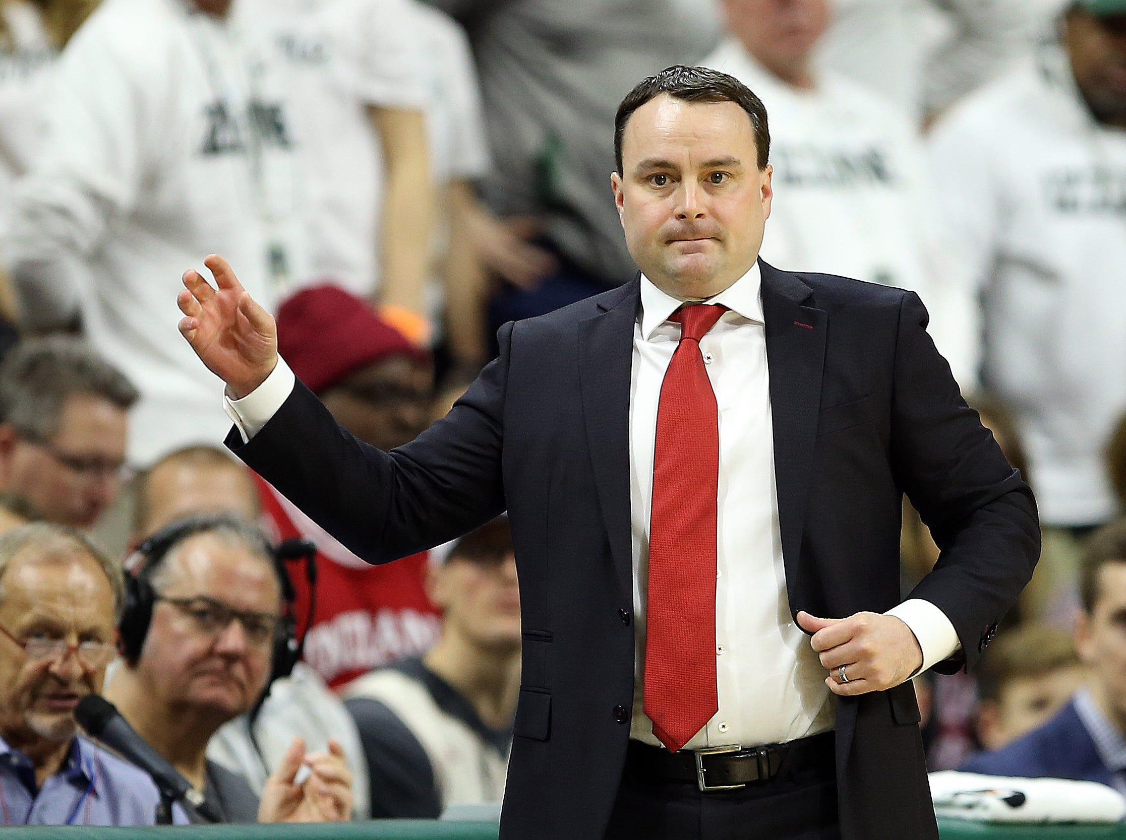 Feb 2, 2019; East Lansing, MI, USA; Indiana Hoosiers head coach Archie Miller reacts during the first half  against the Michigan State Spartans at the Breslin Center. Mandatory Credit: Mike Carter-USA TODAY Sports
