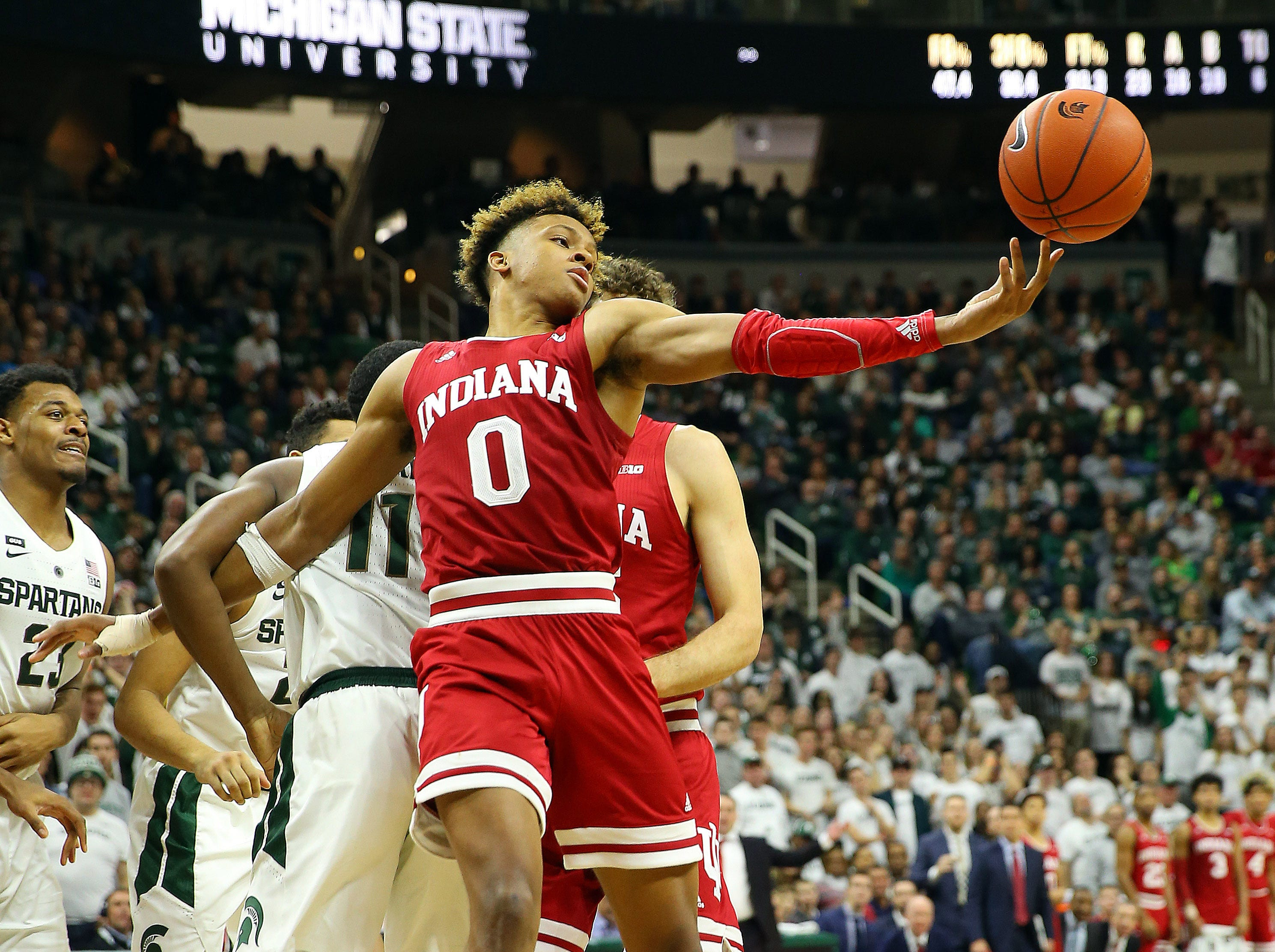 Feb 2, 2019; East Lansing, MI, USA; Indiana Hoosiers guard Romeo Langford (0) gets a rebound during the second half of a game against the Michigan State Spartans at the Breslin Center. Mandatory Credit: Mike Carter-USA TODAY Sports