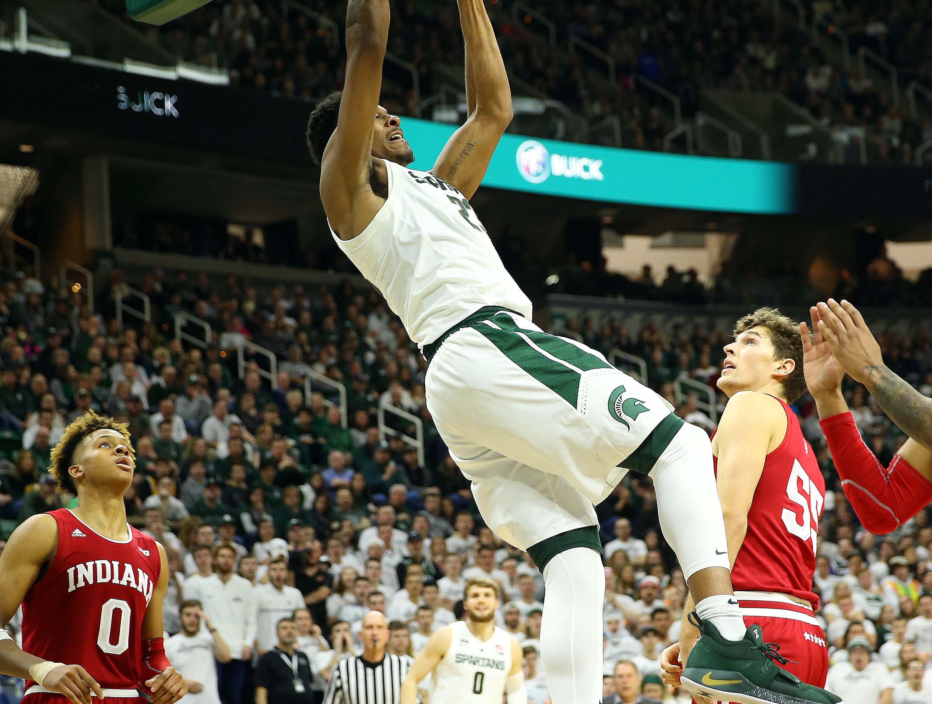 Feb 2, 2019; East Lansing, MI, USA; Michigan State Spartans forward Xavier Tillman (23) dunks the ball during the second half of a game against the Indiana Hoosiers at the Breslin Center. Mandatory Credit: Mike Carter-USA TODAY Sports